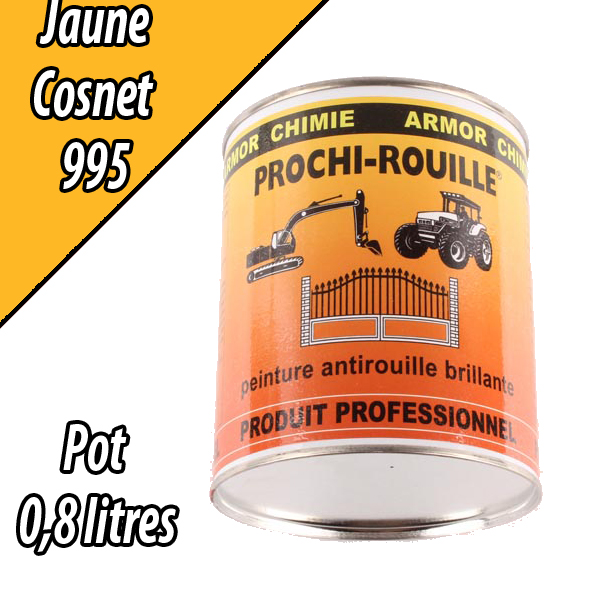 Peinture agricole PROCHI- ROUILLE brillante, jaune, 995, COSNET, Pot 0,8 L