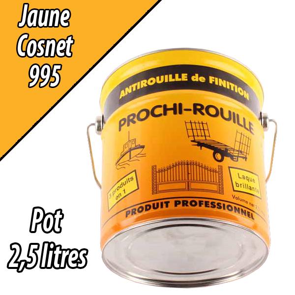 Peinture agricole PROCHI- ROUILLE brillante, jaune, 995, COSNET, Pot 2,5 L