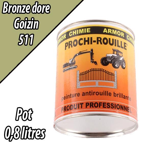 Peinture agricole PROCHI- ROUILLE brillante, bronze doré, 511, GOIZIN, Pot 0,8 L