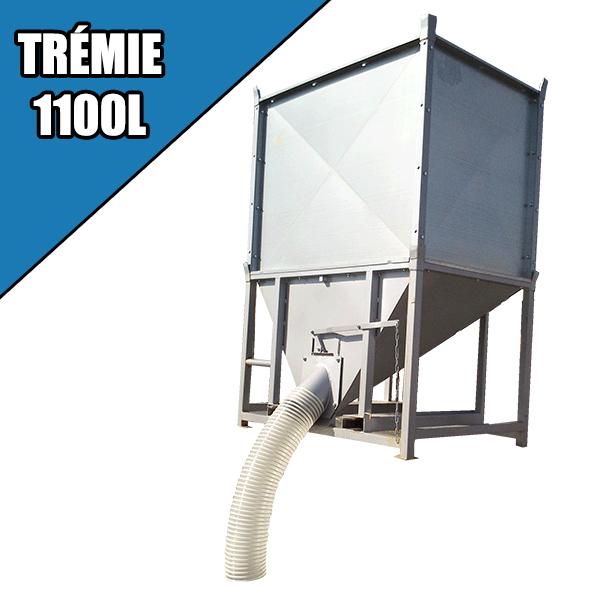 Trémie de ravitaillement 1100 L + goulotte 2000 mm et tuyau 1 M