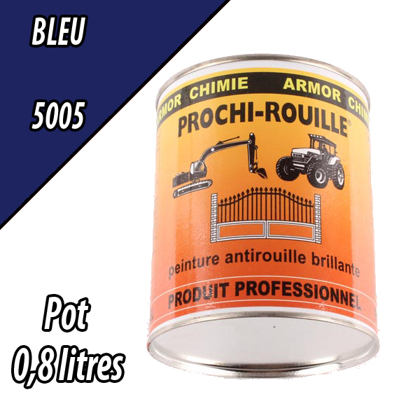 Peinture agricole PROCHI- ROUILLE brillante, bleu, 5005, UNIVERSEL, Pot 0,8 L